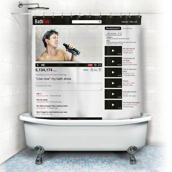 Youtube Facebook  Web page Pattern Shower Curtains Waterproof Polyester