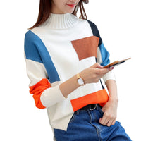 Temperament hit color turtleneck knitted sweater women's pullover