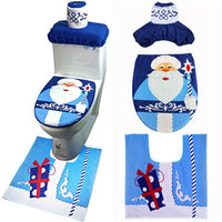 Merry Christmas New Year 2019 Blue Red Santa Claus Seat Carpet Bathroom Set