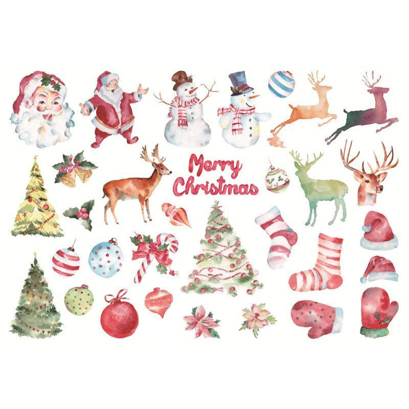 Christmas Sticker For Child Decoration DIY Kawaii Santa