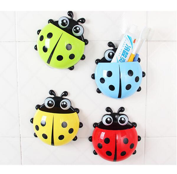 Lovely Ladybug Toothbrush Wall Suction Bathroom Sets Cartoon Sucker
