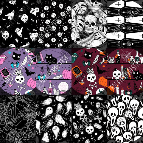 Cotton Lycra Round CC Preorder - Halloween NEW prints - Witchy, Scream, Skulls, Ghosts and more