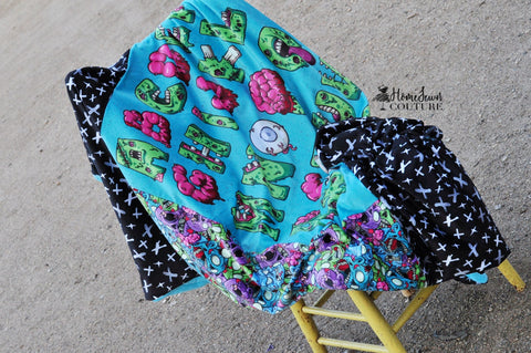 Inverted ABC Skull Blanket Topper or Zombie ABC's FH CUT Minky Preorder Round II
