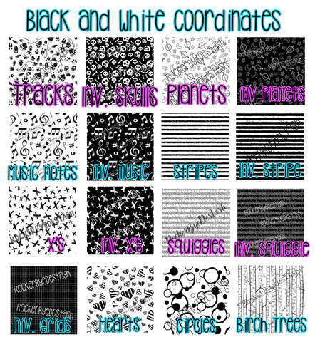 Cotton Lycra ACCENT prints ROUND CC - 1 yard per quantity Coordinate designs Preorder Black and white