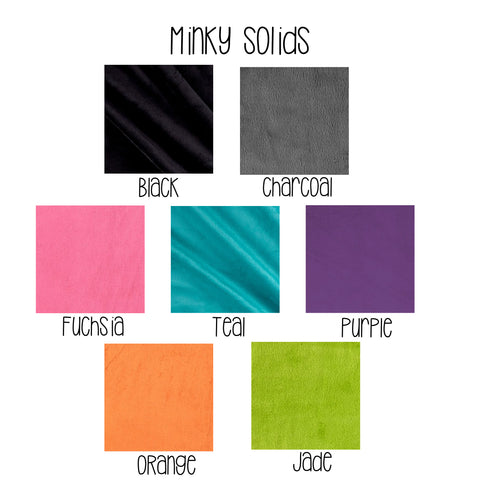 Solid Minky coordinate colors 3mm pile Preorder