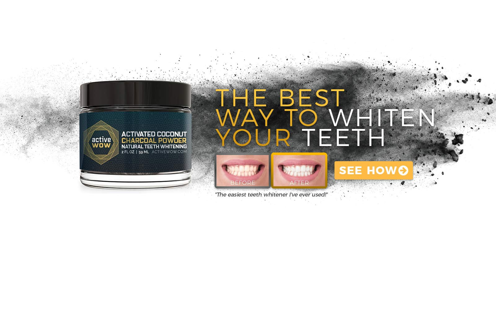 ActiveWow Activated Charcoal Natural Teeth Whitening Powder