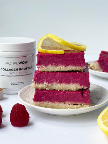 raspberry lemon bars with active wow collagen booster