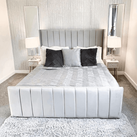 This sleek and glamorous master bedroom wouldn't look out of place in a five-star boutique hotel.