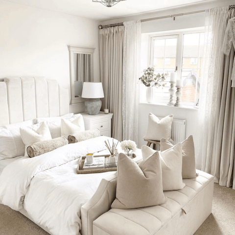 The master bedroom is an oasis of calm, featuring a beautiful statement bed complete with silky smooth Hampton and Astley Egyptian cotton sateen bedding.