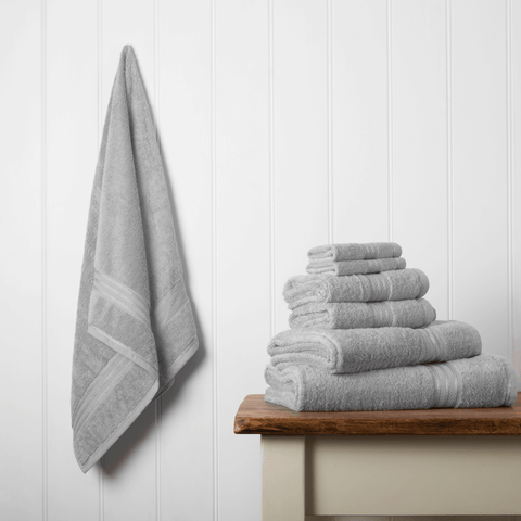 Hampton and Astley irresistibly soft Egyptian cotton towels in subtle grey
