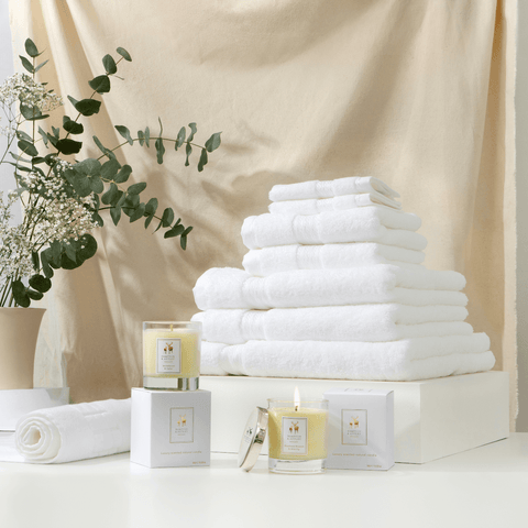 Hampton and Astley Pamper Me bundle in white