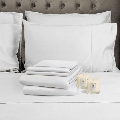 Hampton and Astley Romance bundles combine sumptuously soft Egyptian cotton bedding with two deliciously indulgent natural wax scented candles