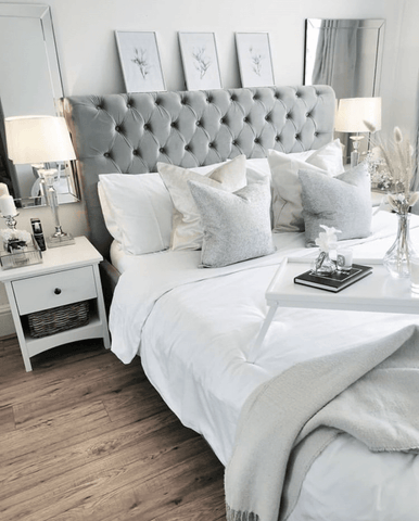 Beautiful bedroom by @anna_louisa_at_home featuring Hampton and Astley long-staple cotton sateen bedding in pure white