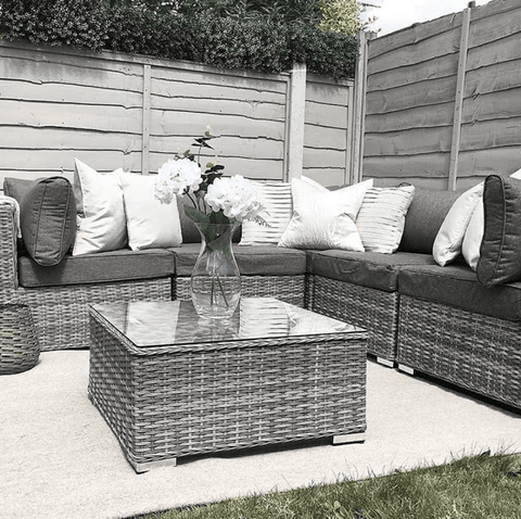 Gorgeous grey rattan furniture set complete with super comfy cushions.