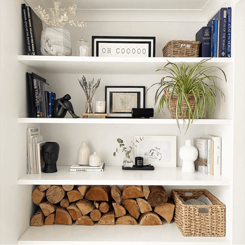 A well chosen selection of books, house plants and ornaments adorn the picturesque alcove shelving in the living area
