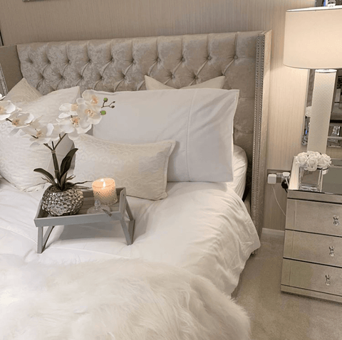Beautiful bedroom by @blossom_home_interior featuring Hampton and Astley long-staple cotton sateen bedding in pure white