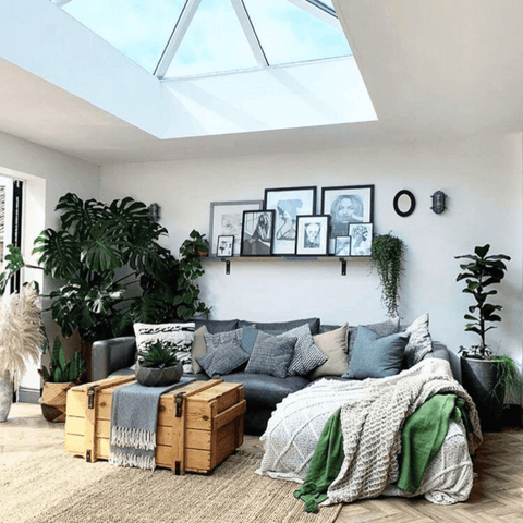 A lantern roof and an oasis of houseplants - including a huge Monstera - really bring the extended living room to life