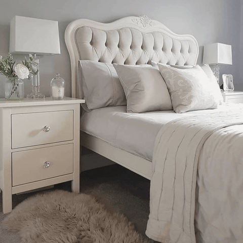 Centre stage in the master bedroom is a fabulous French renaissance style bed featuring Hampton and Astley's Egyptian cotton sateen bedding in white