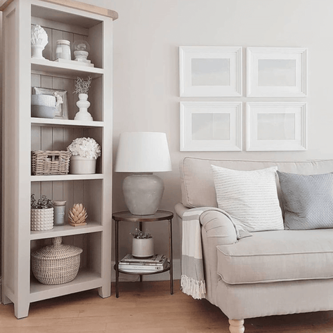 In the lounge, soft neutrals are layered with white to create a calm, relaxing vibe
