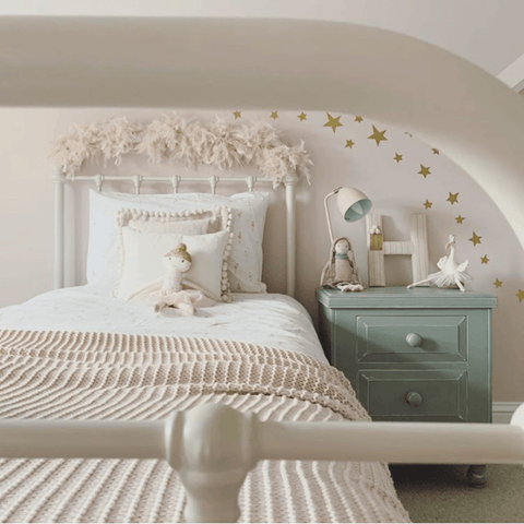Decorated in the most gorgeous shade of subtle pink, the bedroom Anna has created for her daughter is one of the prettiest we've seen