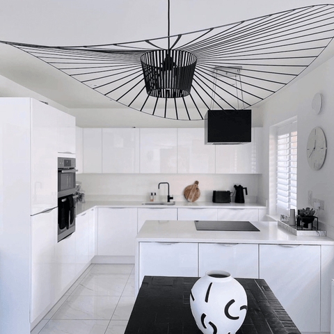 The most stunning sombrero shaped light fitting, in black of course.