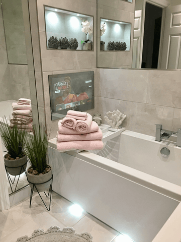 Integrated flatscreen in bathroom by @home_sweet_home_46 on Instagram