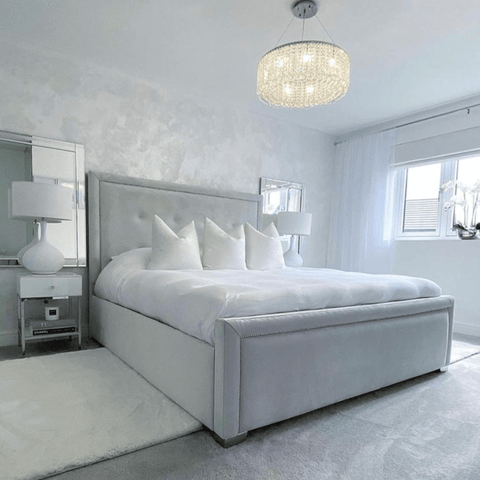 Victoria recently swapped out her dark grey upholstered bed for this beautifully soft grey one, made up with Hampton and Astley long-staple cotton sateen bedding in pure white