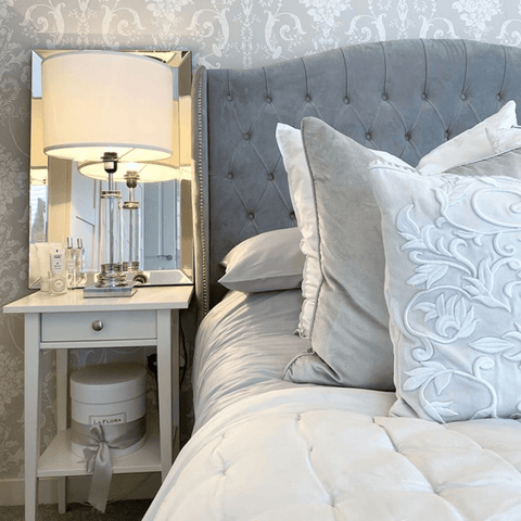 Beautiful bedroom by @inside.number2 featuring Hampton & Astley bedding in subtle grey