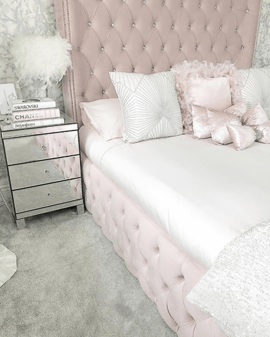 My bedroom is my sanctuary and I love the soft pinks and silver tones used throughout