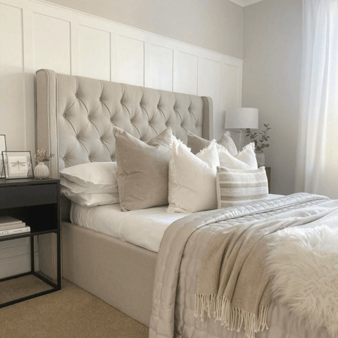 A palette of calming neutral colours works beautifully in the bedroom, which features Hampton and Astley's Egyptian cotton sateen bedding in pure white