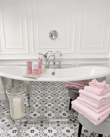 Pink is the perfect hue to bring warmth to a monochrome colour scheme
