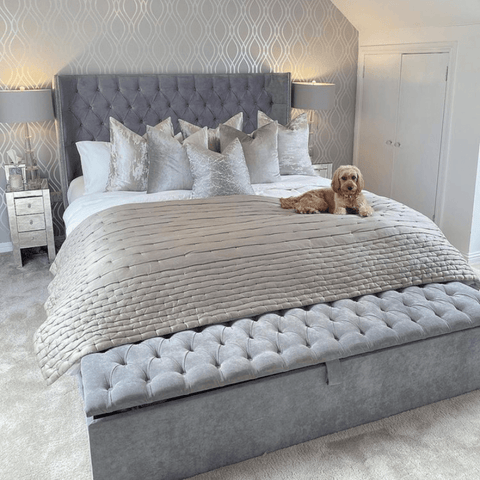 Decorated in cool silver and grey tones, the master bedroom is the perfect sleep retreat