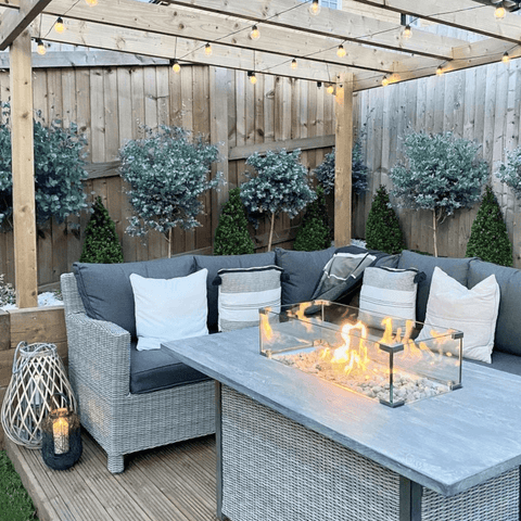 The garden features strings of  tiny overhead lights and a fire pit to keep cosy on those chilly spring evenings.