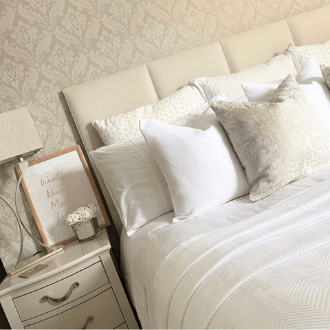 Beautiful bedroom by @the_decozi_home featuring Hampton & Astley bedding in pure white