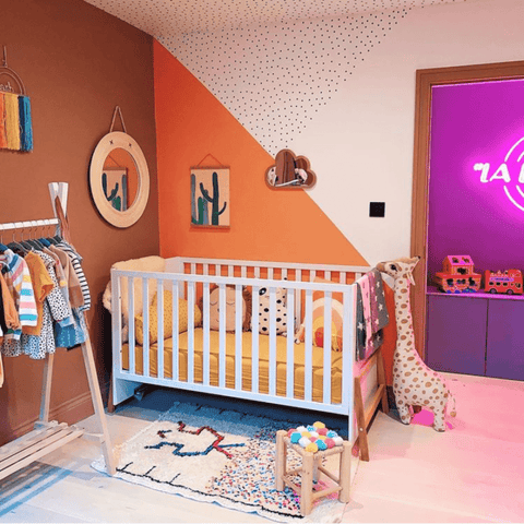 The clever use of colour blocking in the nursery is simply gorgeous
