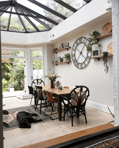 An orangery style kitchen dining area complete with impressive roof lantern