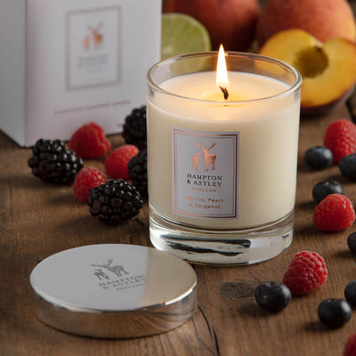 Berries, Peach & Bergamot Luxury Scented Candle with an included silver plated mirrored lid.