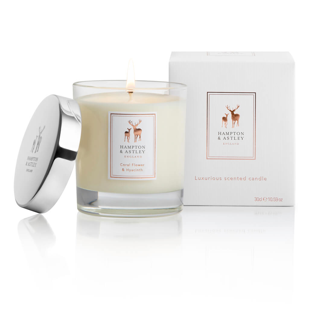 Hampton and Astley Luxury Scented Large Candle 235g, Coral Flower and Hyacinth