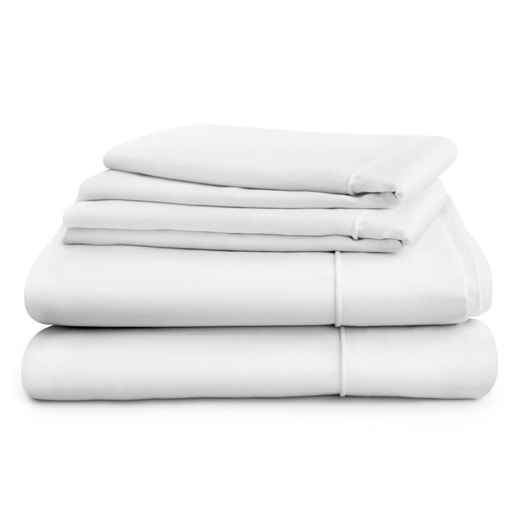 Hampton and Astley Long-Staple Egyptian Cotton Sateen Luxury Duvet Cover and Two Pillowcases, Pure White