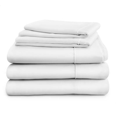 Duvet cover and deep fitted sheet in double, king or super king sizes with two pillowcases, white