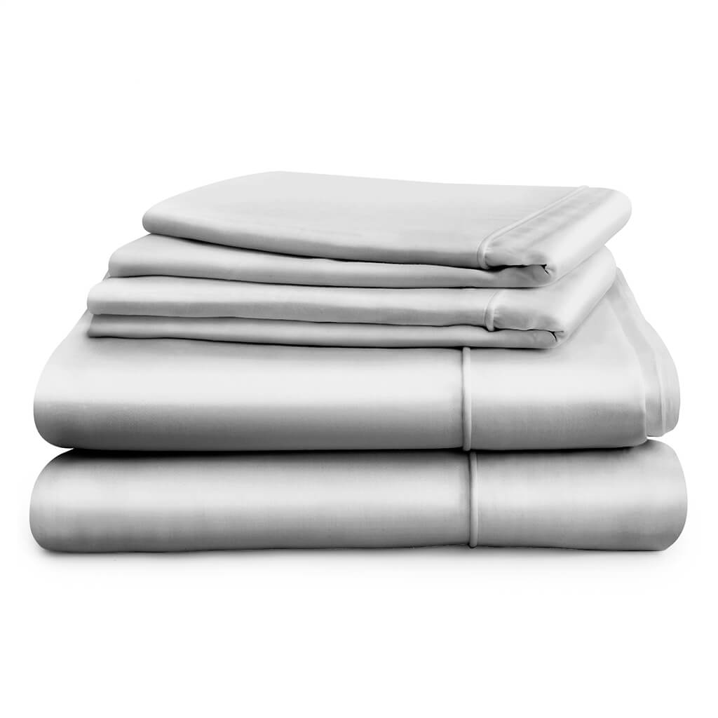 Hampton and Astley Long-Staple Egyptian Cotton Sateen Luxury Duvet Cover and Two Pillowcases, Subtle Grey