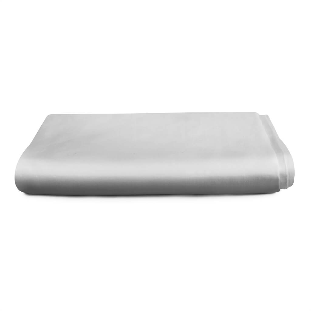 Hampton and Astley Long-Staple Cotton Sateen Luxury Deep Fitted Sheet, Subtle Grey