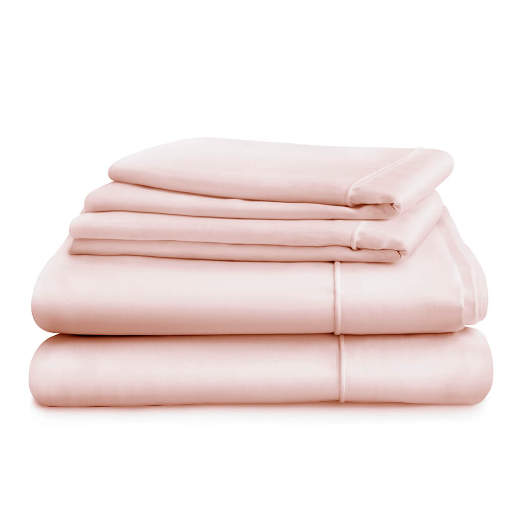 Hampton and Astley Long-Staple Cotton Sateen Luxury Duvet Cover and Two Pillowcases, Pink