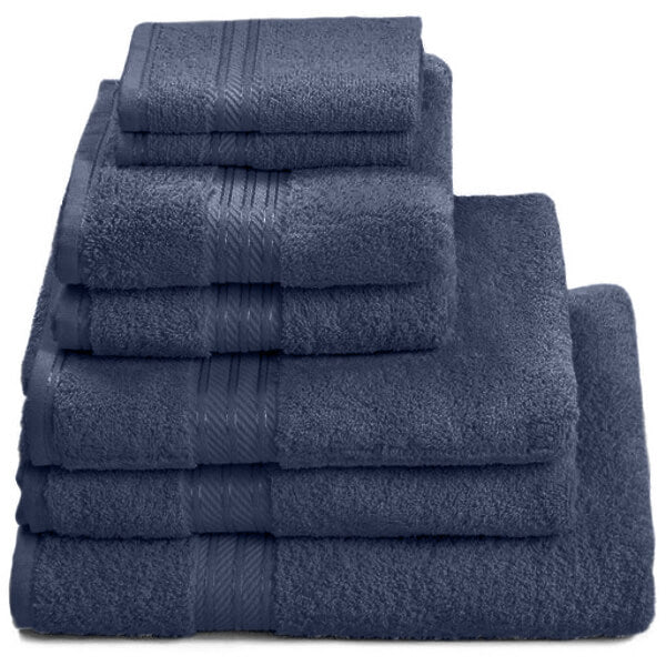 Hampton and Astley 100% Egyptian Cotton 7 Piece Luxury Bath Towel Set, Navy