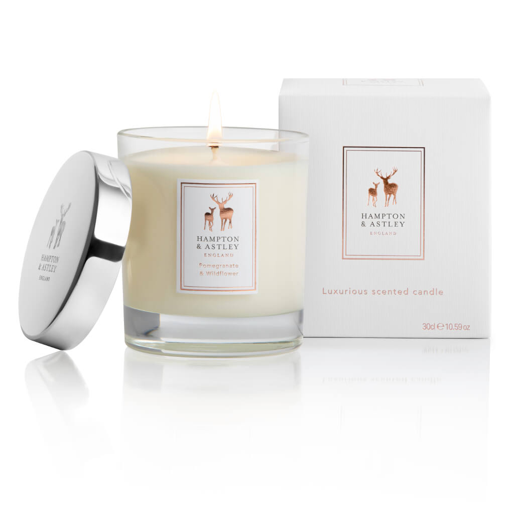 Hampton and Astley Luxury Scented Large Candle 235g, Pomegranate & Wildflower