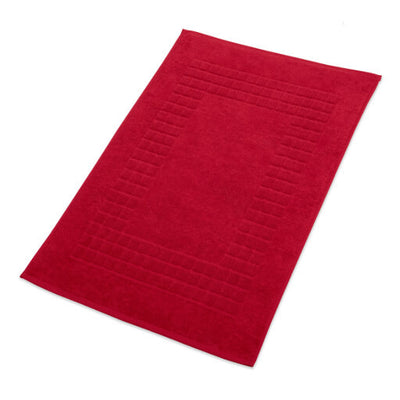 Hampton and Astley 100% Egyptian Cotton Luxury Bath Mat, Celebration red