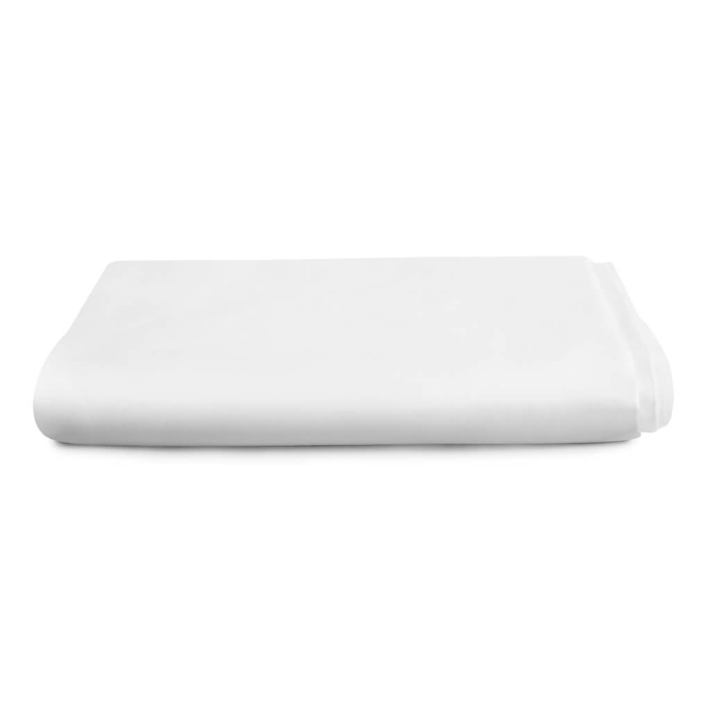 Hampton and Astley Long-Staple Cotton Sateen Luxury Deep Fitted Sheet, Pure White