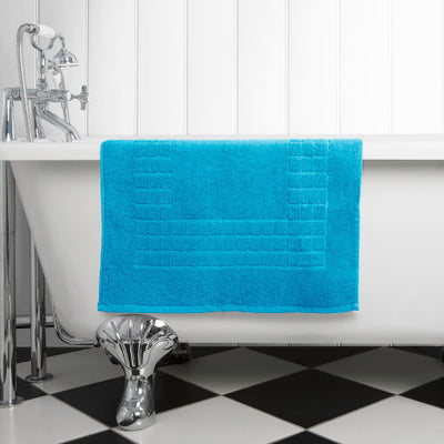 Hampton and Astley 100% Egyptian Cotton Luxury Bath Mat, Teal Blue