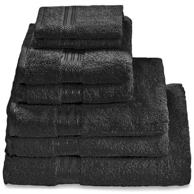 Hampton and Astley 100% Egyptian Cotton 7 Piece Luxury Bath Towel Set, Midnight Black