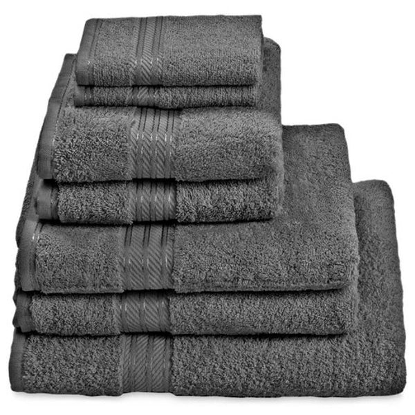 Hampton and Astley 100% Egyptian Cotton 7 Piece Luxury Bath Towel Set, Charcoal Dark Grey